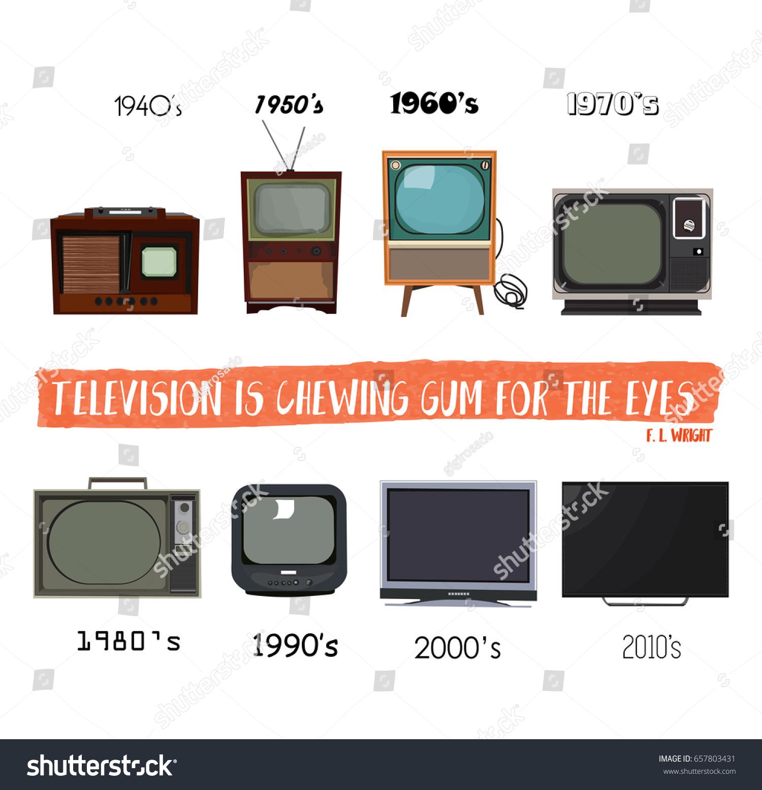 Television History Tv Retro Vintage Modern Stock Vector