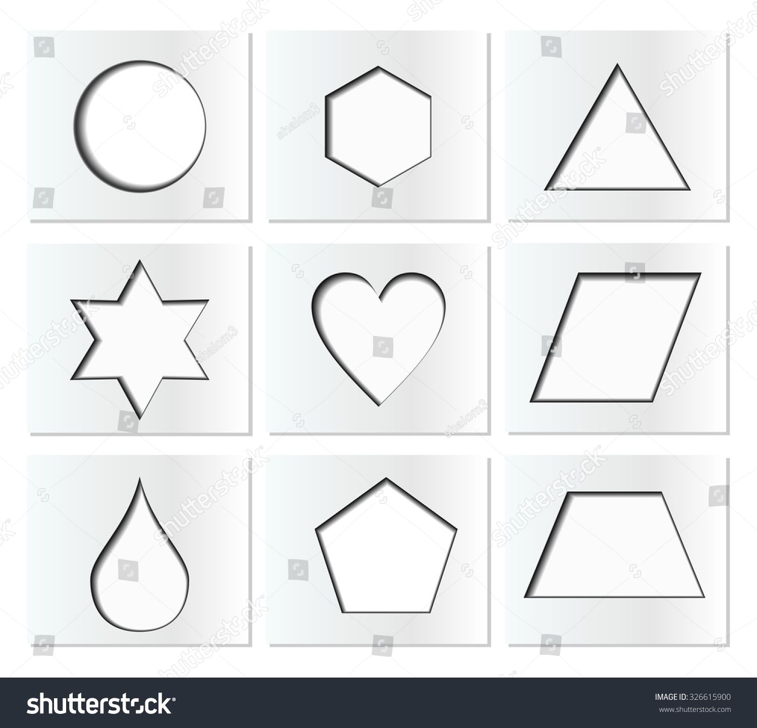 Template Simple Geometric Shapes Inner Shadow Stock Vector