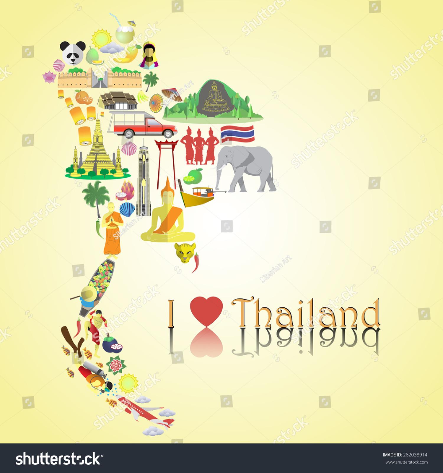 Thailand Map Thai Color Vector Icons Stock Vector