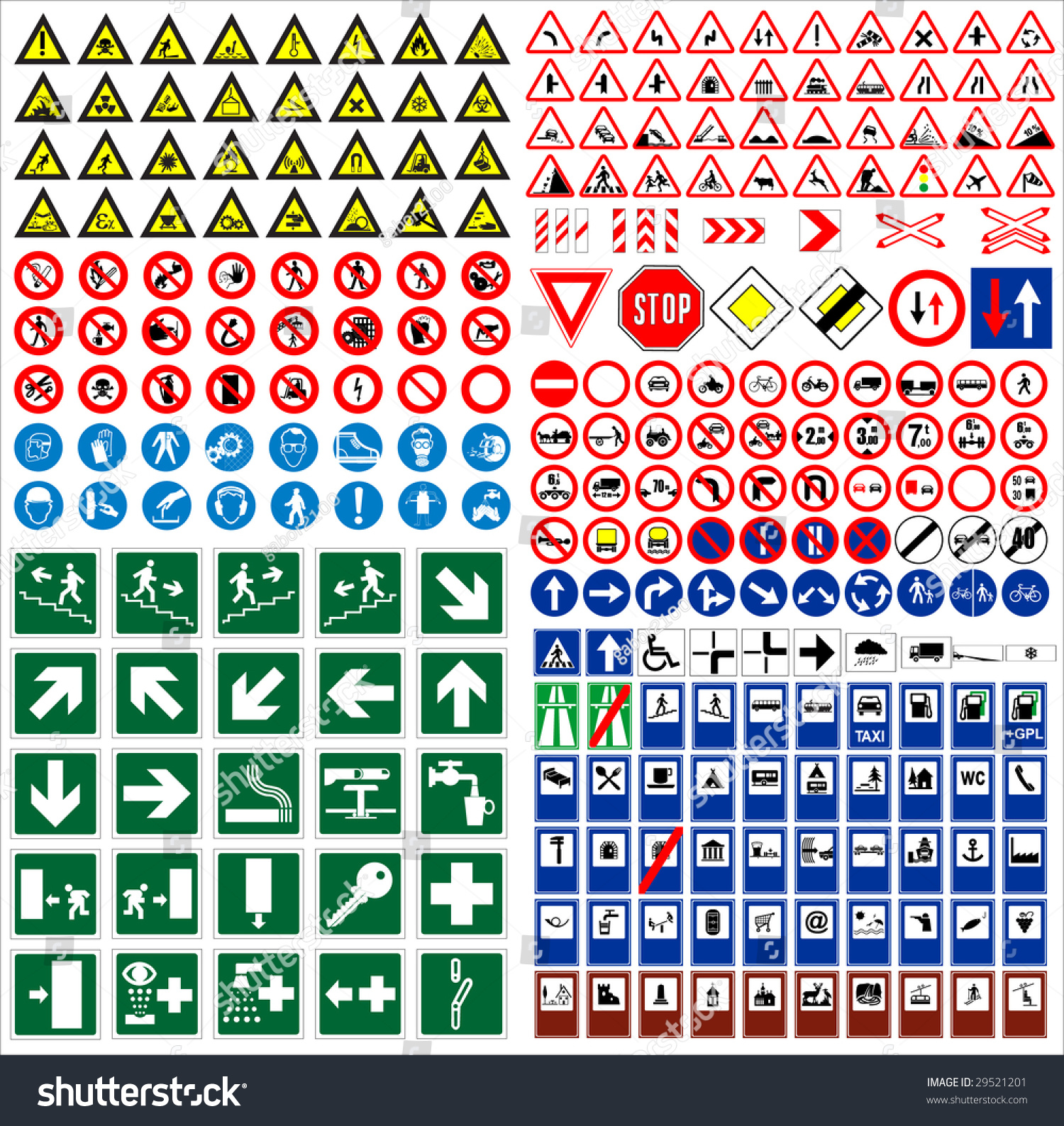 Big Sign Collection Traffic Work Safety Stock Vector