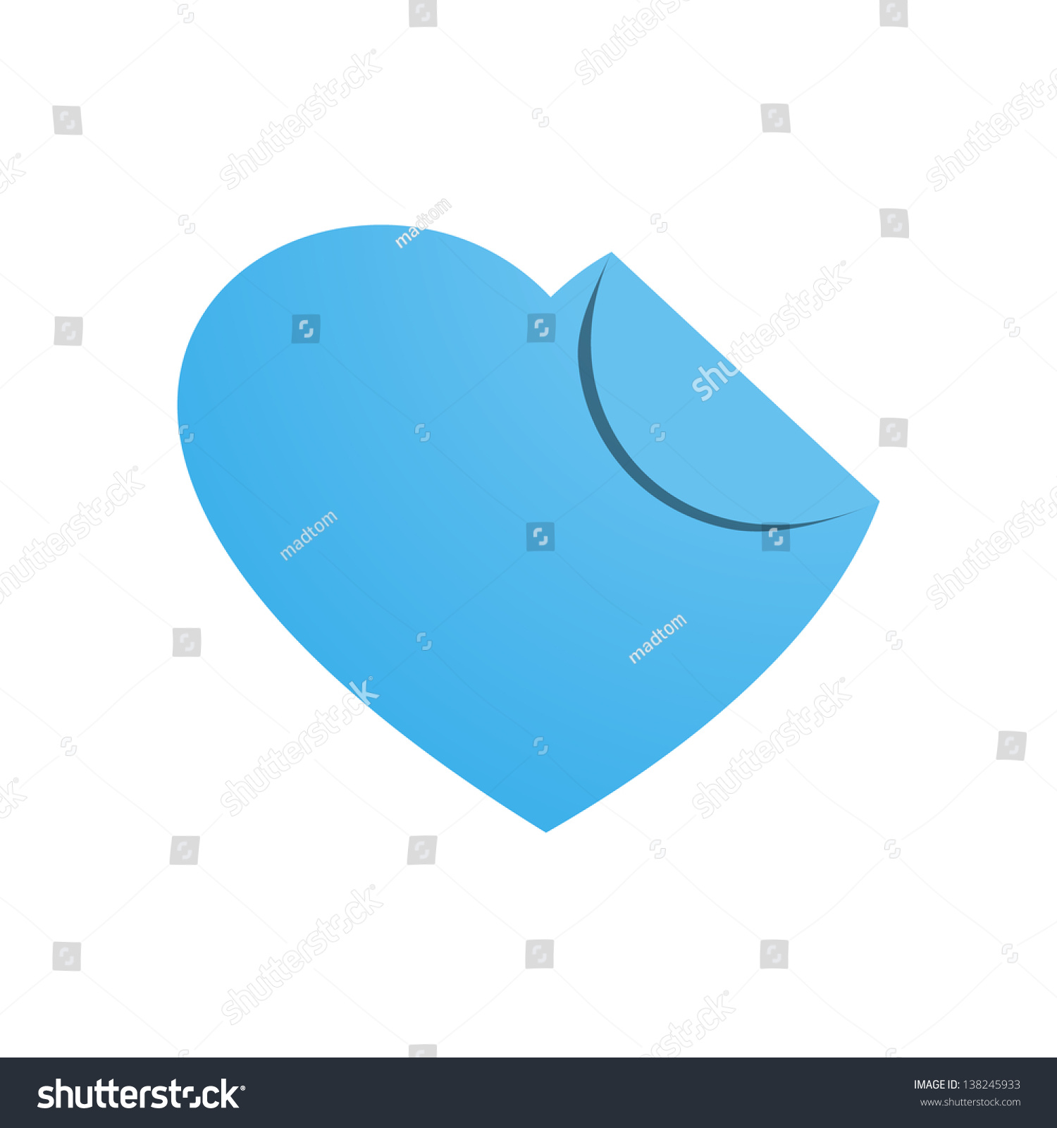 Blank Blue Heart Shape Label Folded Stock Vector