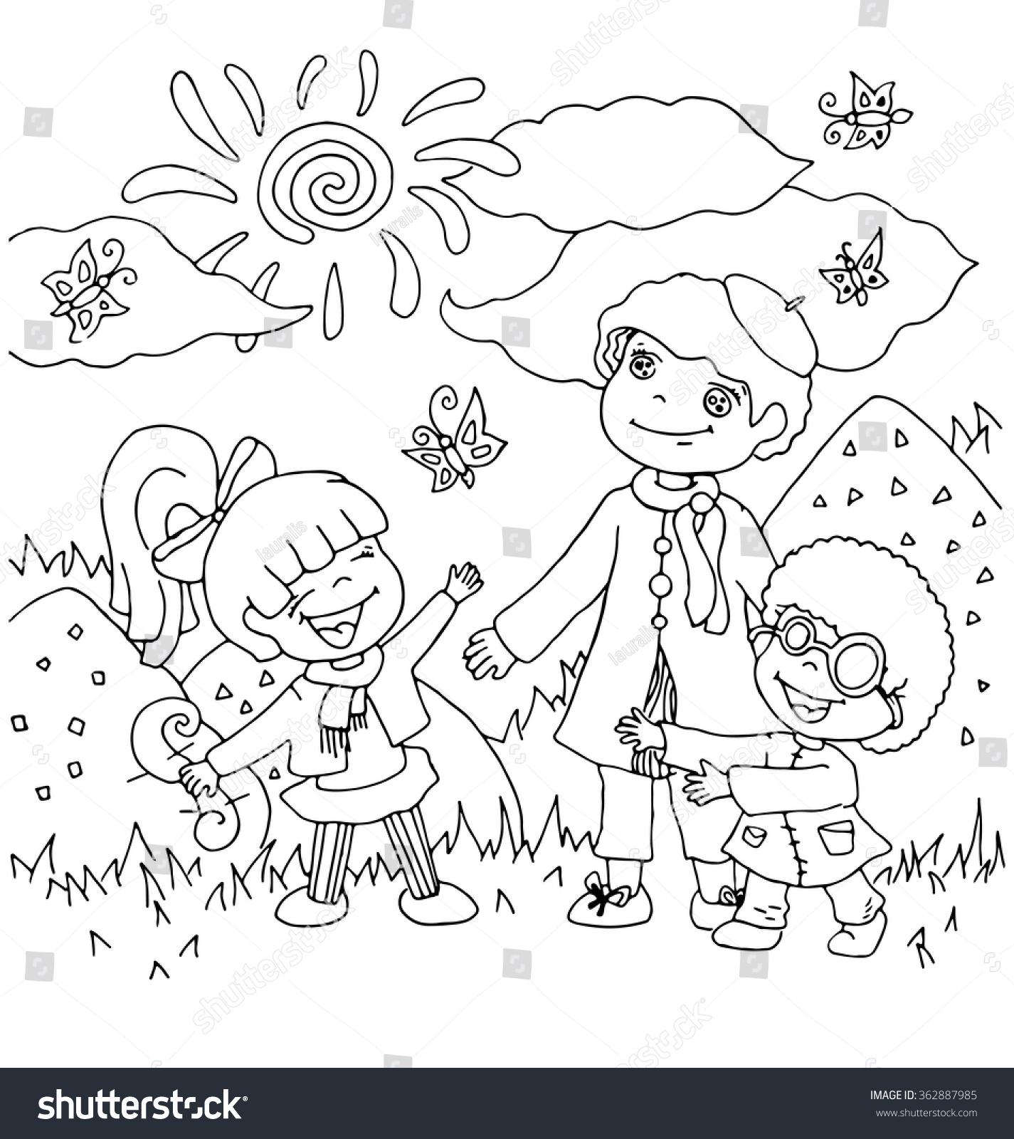 Children Kindergarten Teacher Cartoon Hand Drawn Stock