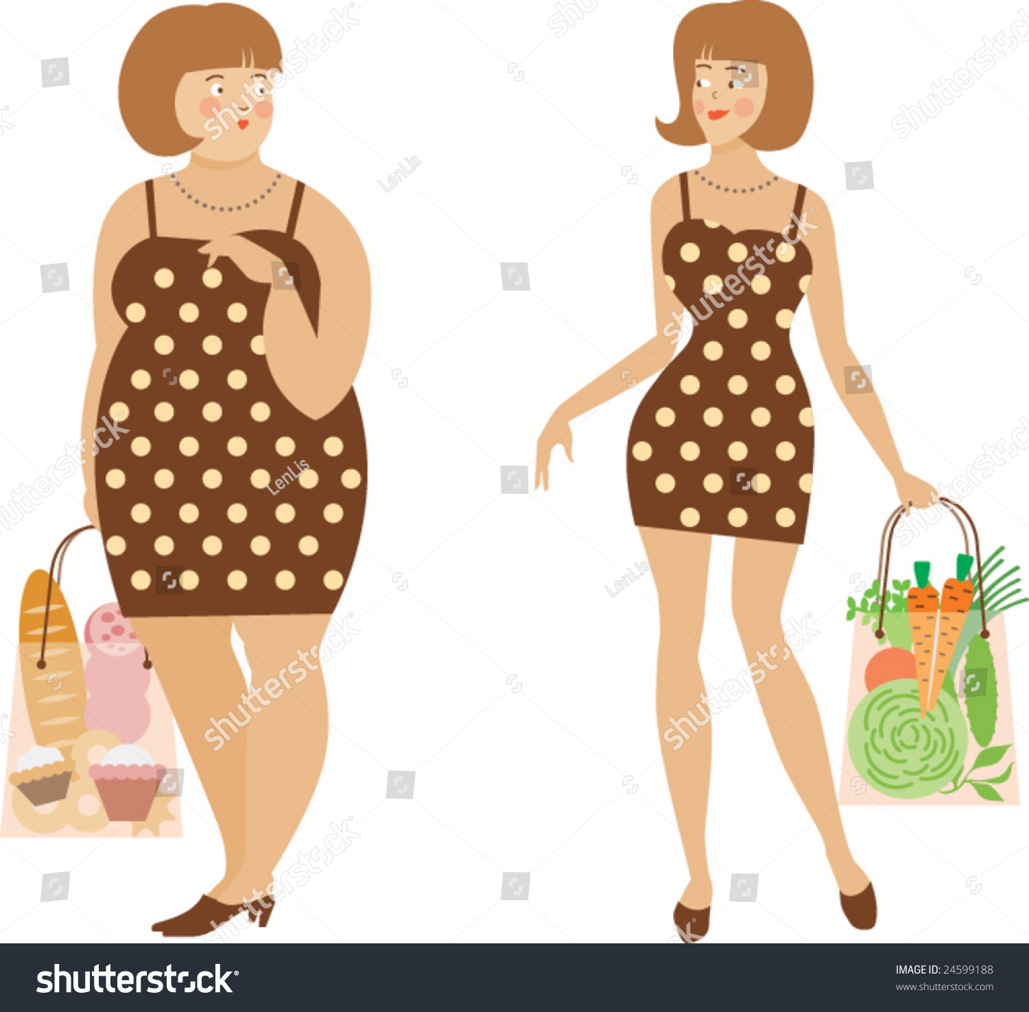 Image Two Women Thick Thin Stock Vector