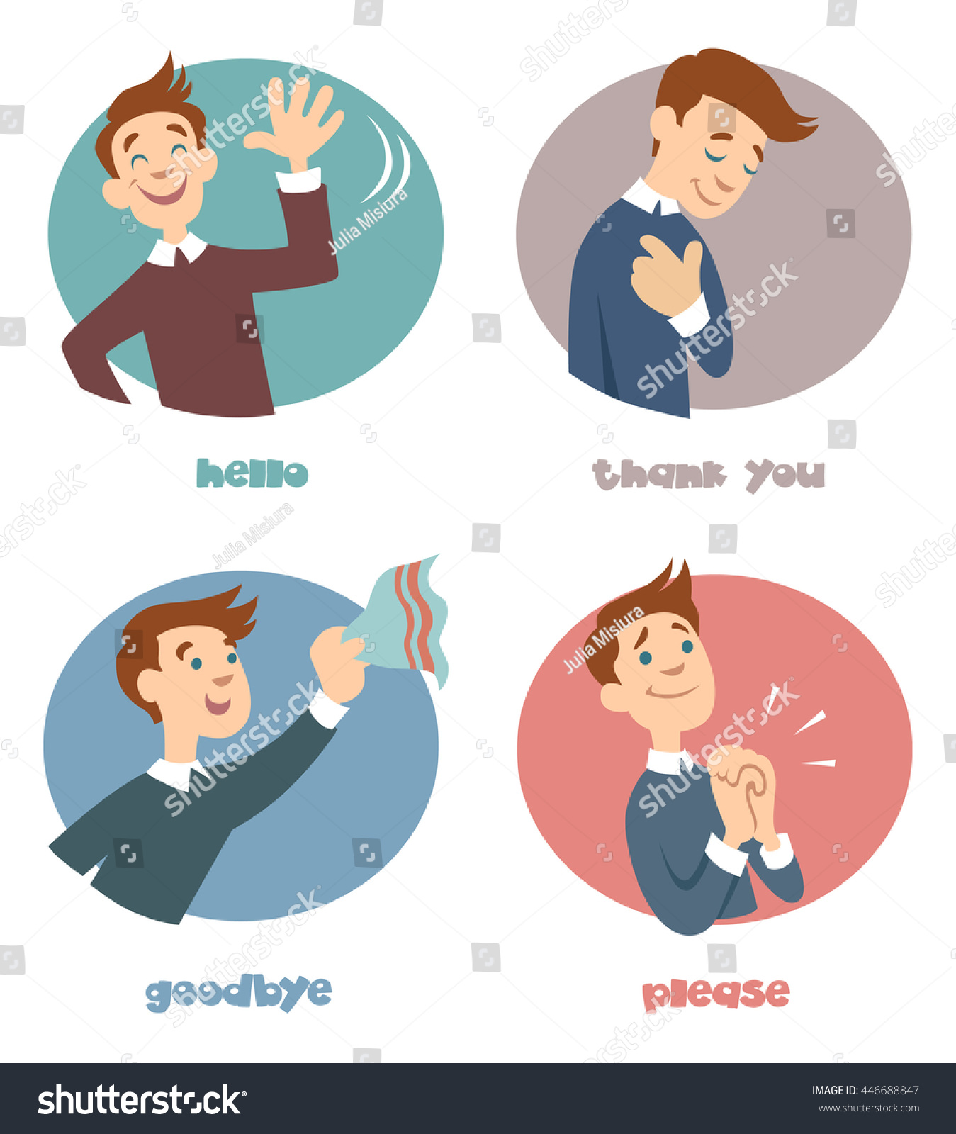 Most Common Phrases Hello Thank You Stock Vector