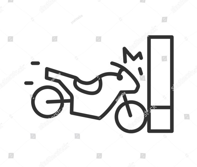 The Motorcycle Hits The Wall Linear Icon Line With Editable Stroke