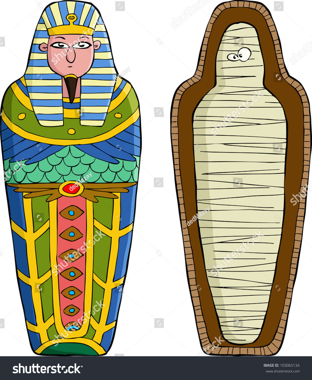 Sarcophagus On White Background Vector Illustration Stock