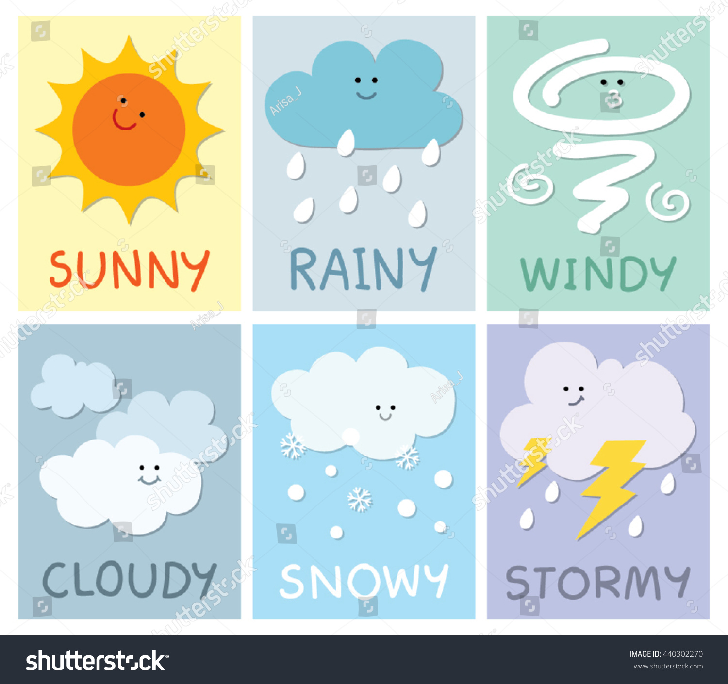 The Weather Card For Children Stock Vector Illustration