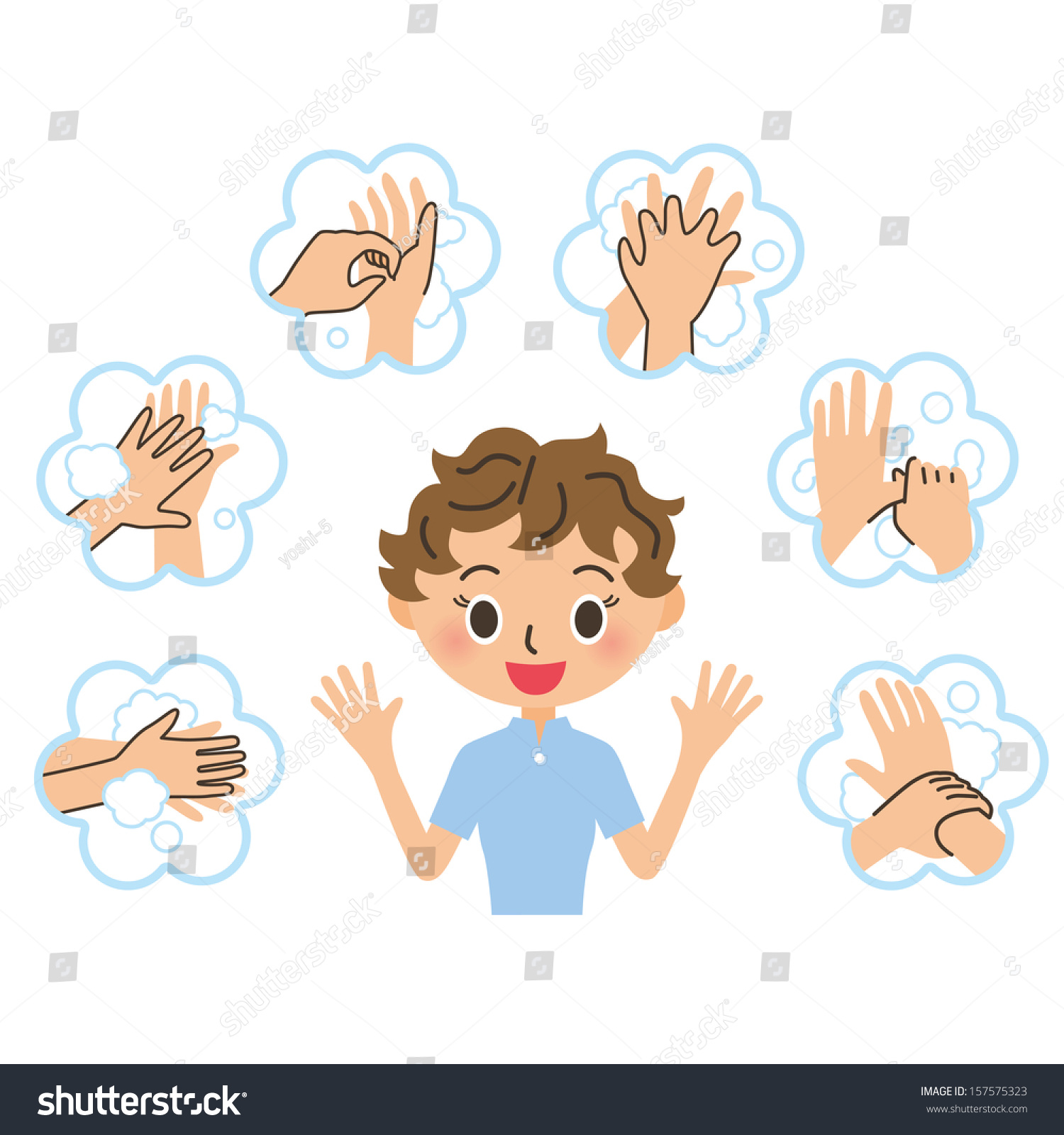 Woman Who Explains The Handwashing Stock Vector