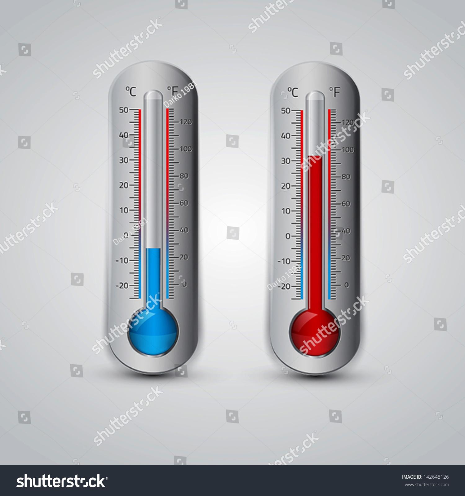 Thermometer Icon Vector Celsius Fahrenheit Measuring Stock