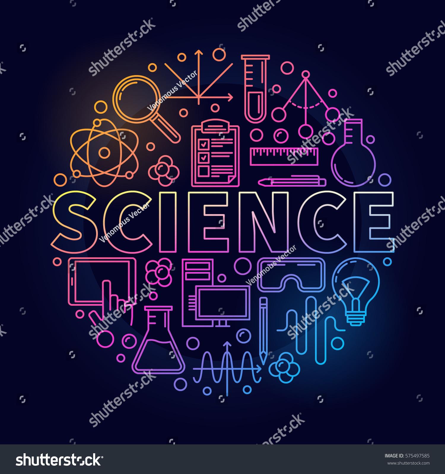 Thin Line Science Round Symbol Vector Stock Vector