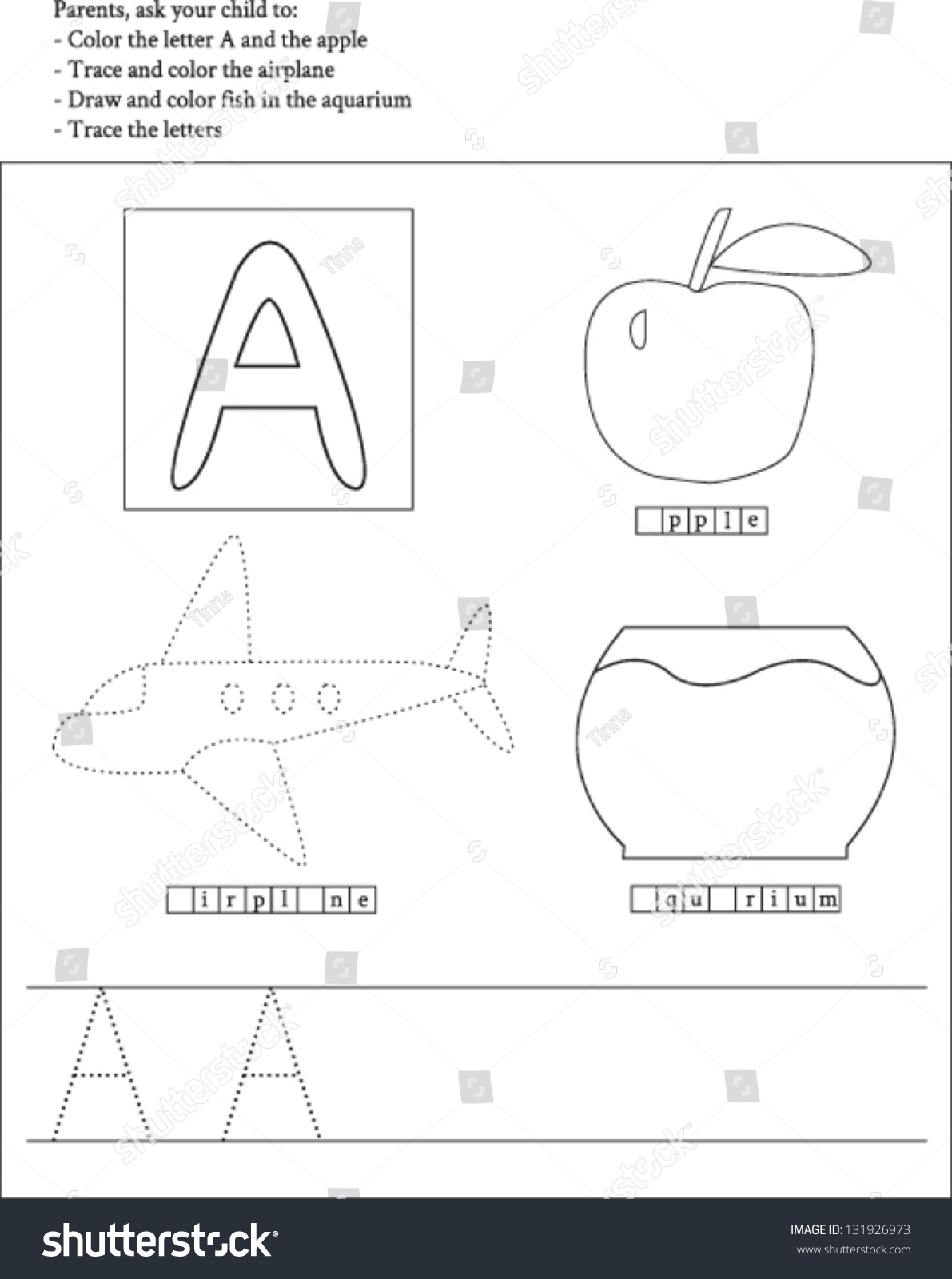 Trace And Color Letter A Worksheet For Preschoolers