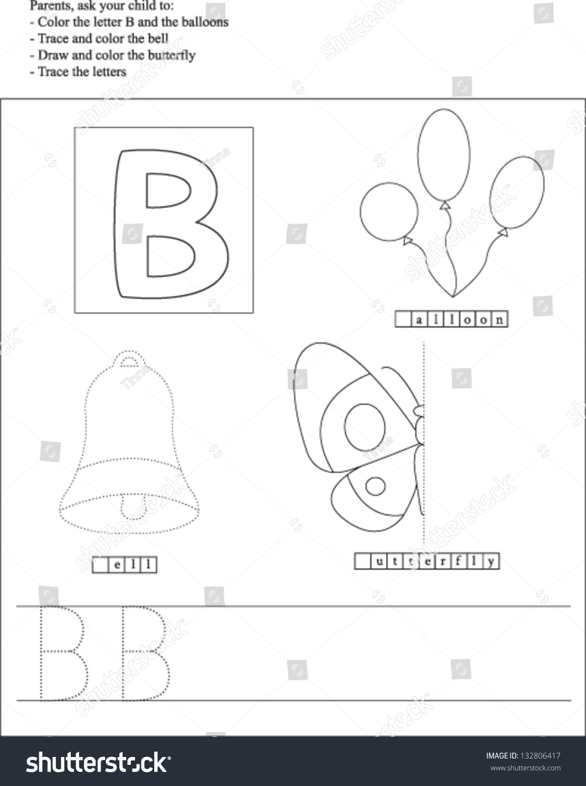 Trace And Color Letter B Worksheet For Preschoolers Stock Vector Illustration