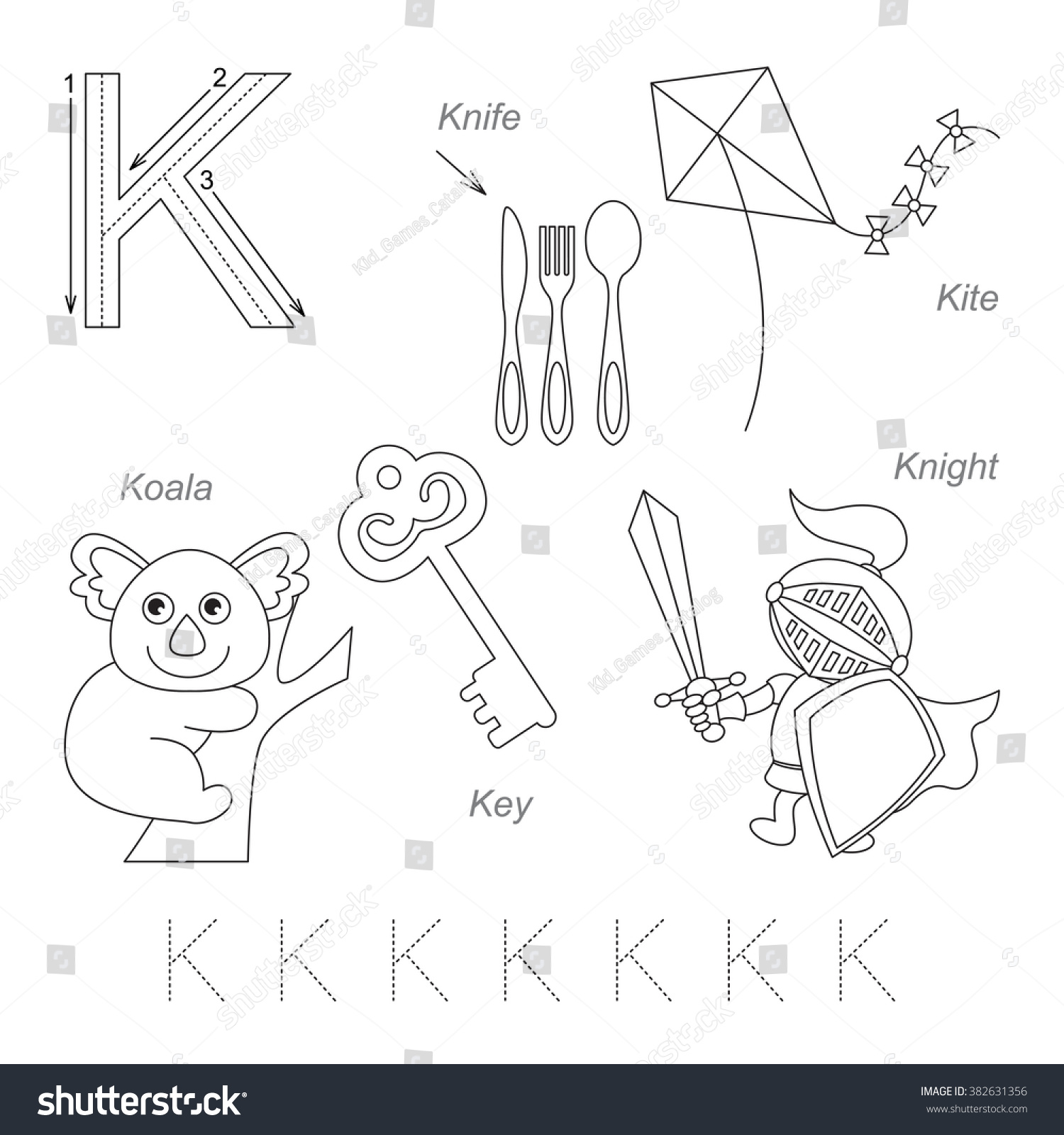 Tracing Worksheet For Children Full English Alphabet From A To Z Pictures For Letter K The
