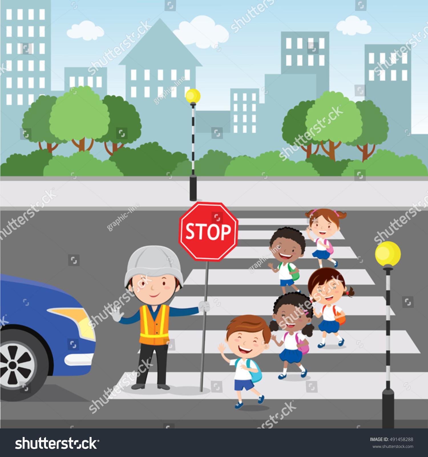 Traffic Guard Helping School Kids Crossing Stock Vector