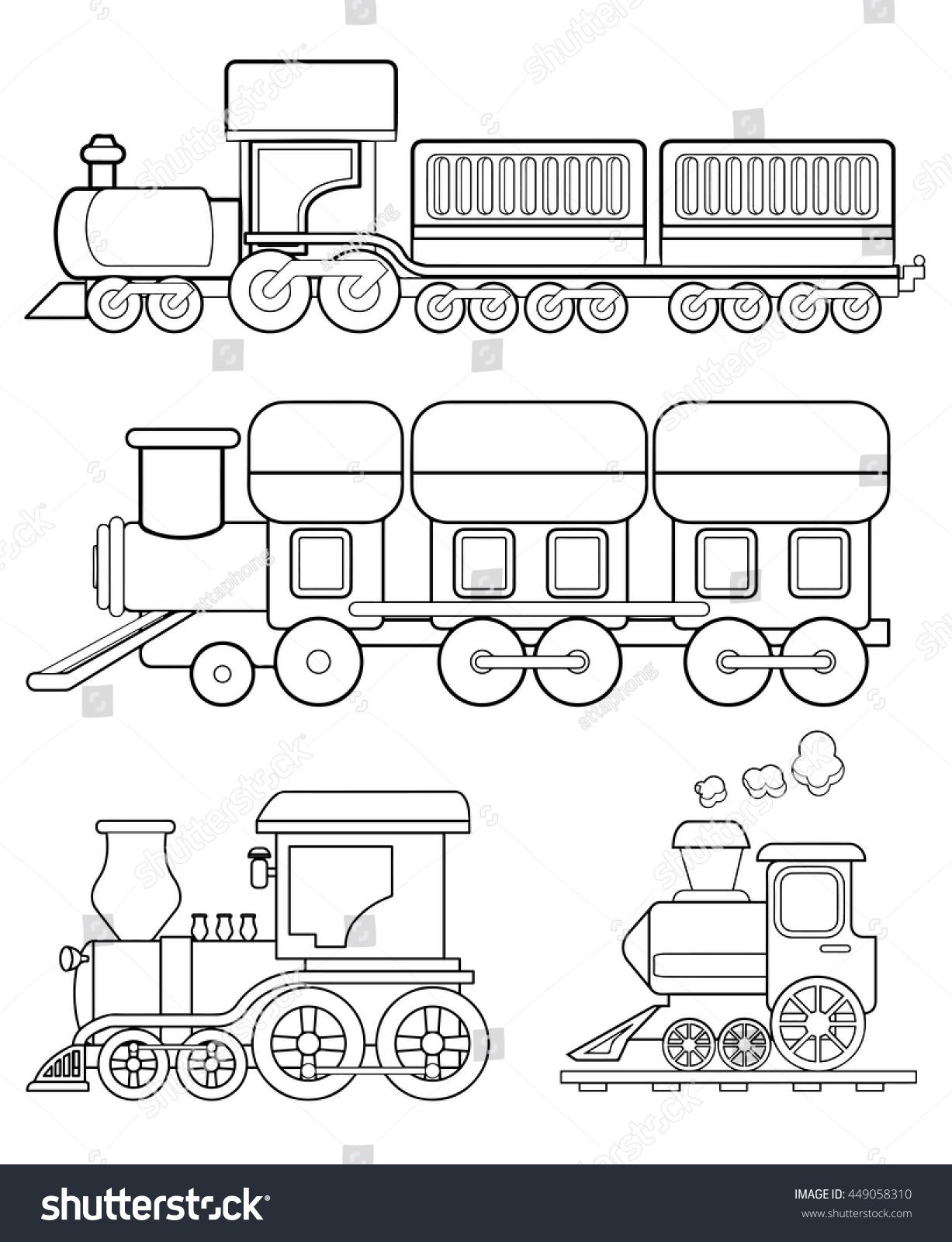 Train Coloring Page Vector Stock Vector