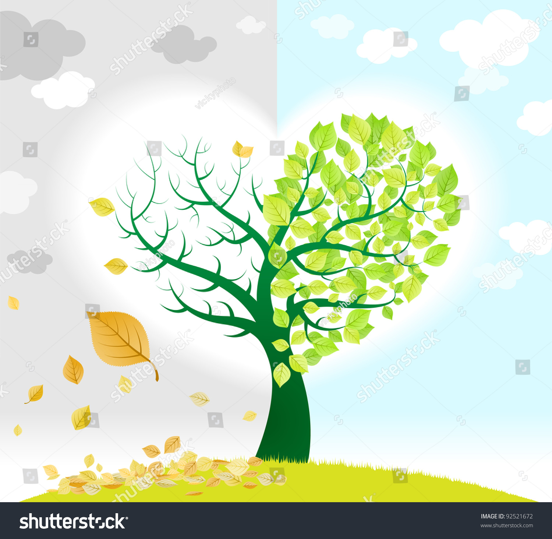 Tree Representing Season Change Green Dried Stock Vector
