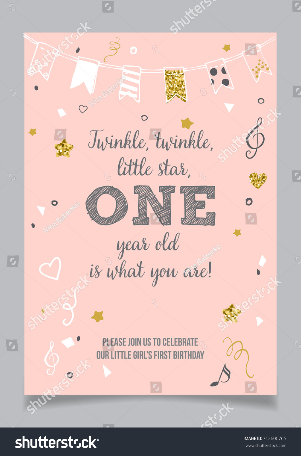 https www shutterstock com image vector twinkle little star girls first birthday 712600765