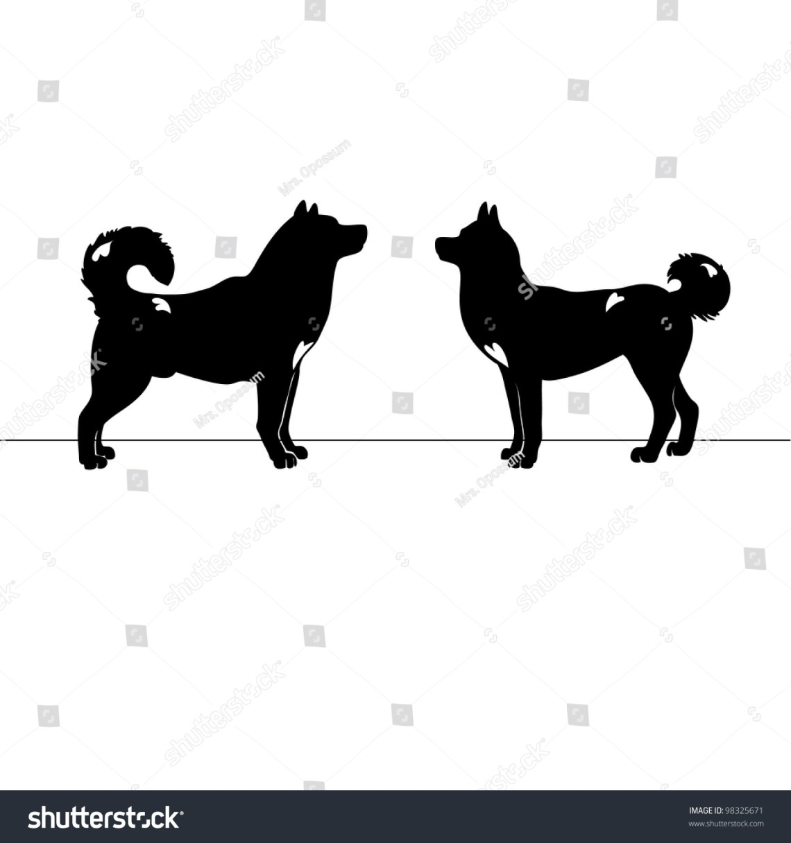 Download Two Dogs Love Silhouettes Stock Vector Illustration ...
