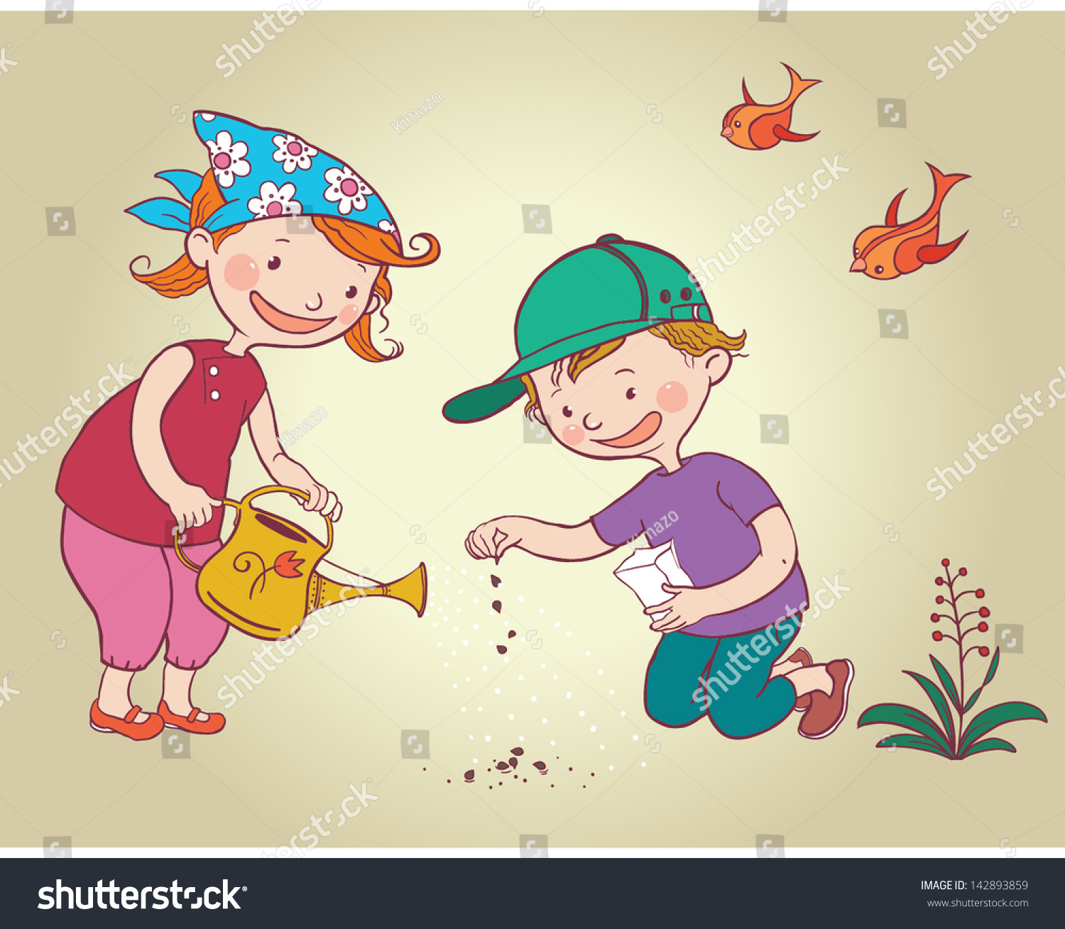 Two Little Kids Children Planting Flowers Stock Vector