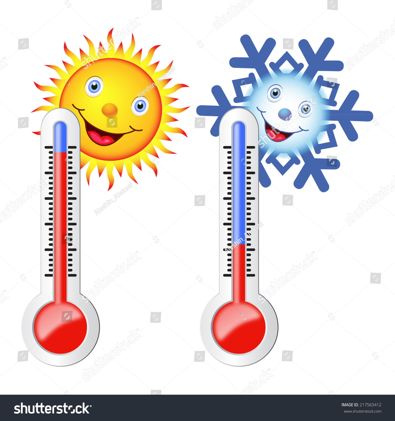 Two Thermometers Sun Snowflake Symbols Hot Stock Vector