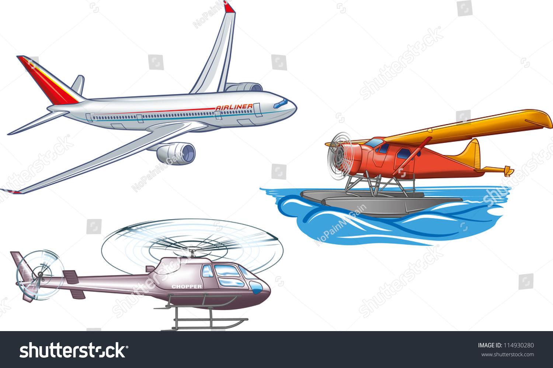 Types Air Transportation Stock Vector