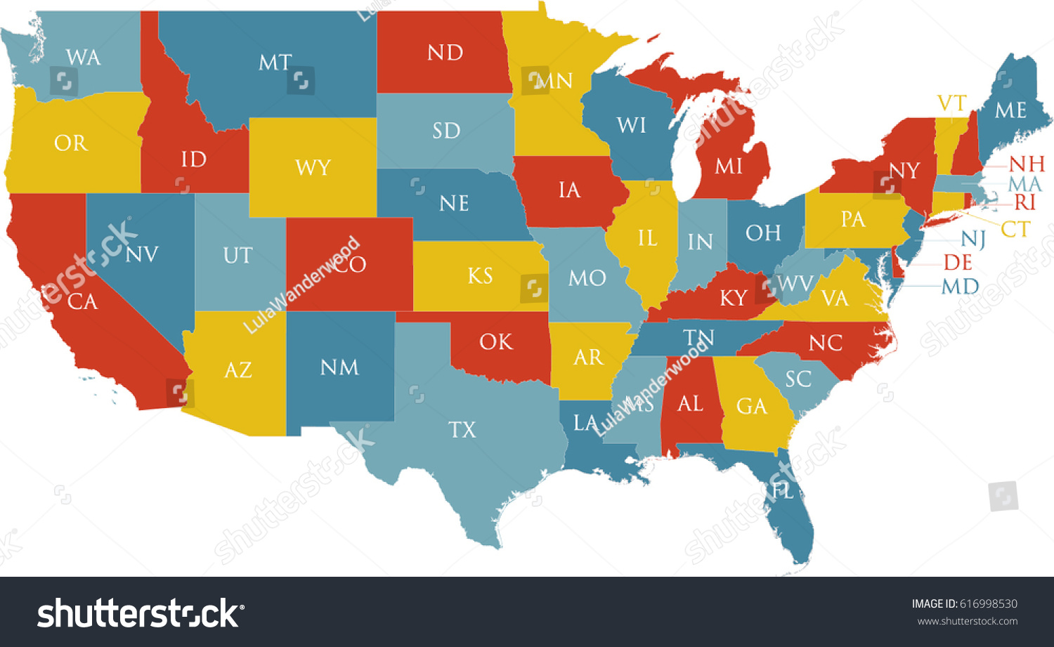 United States Map Labeled Postal Abbreviations Stock Vector Royalty Free 616998530