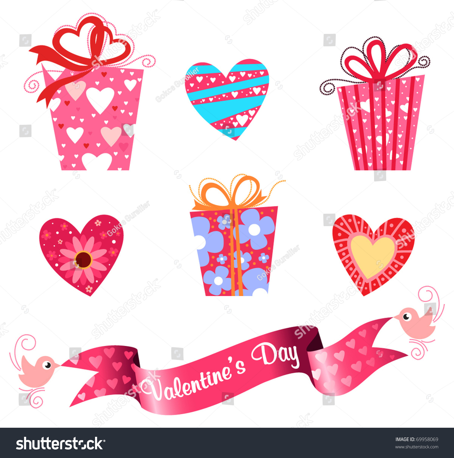 Valentines Day Icon Set Cute T Stock Vector