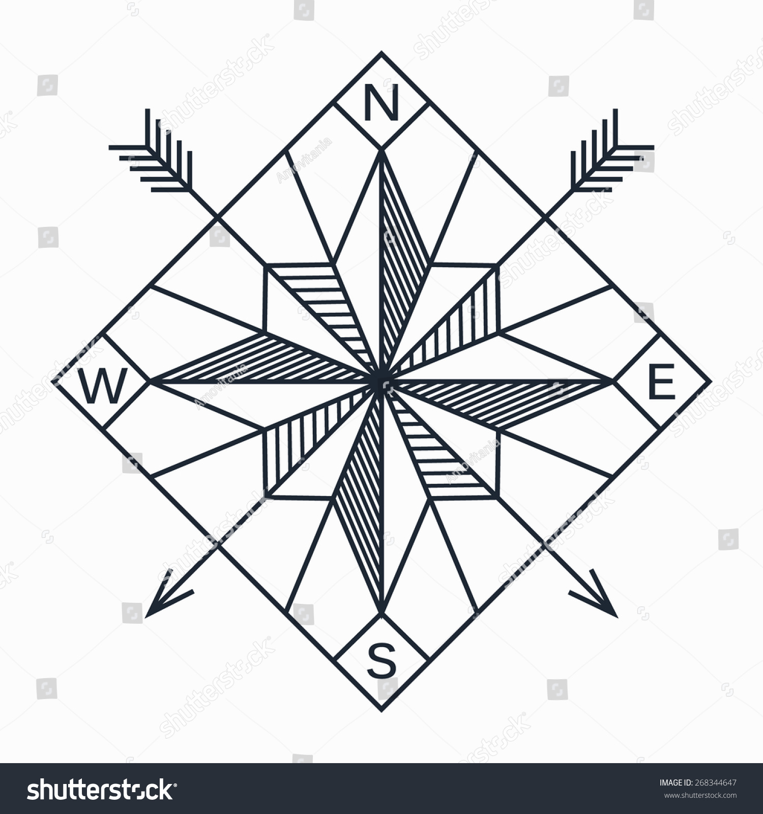 Vector Abstract Geometric Navigation Star Compass Stock