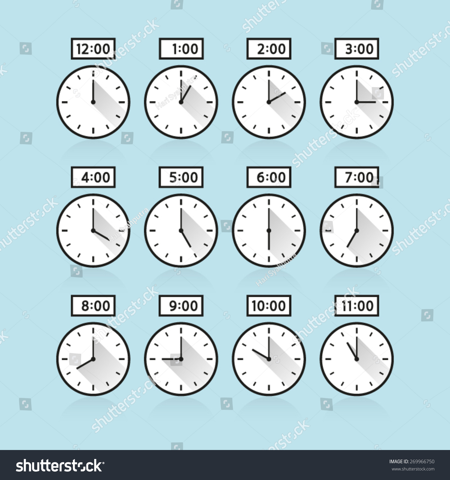 Vectorog Clock 24 Hours Day Night Serial Icon Symbol Flat Sequence Template