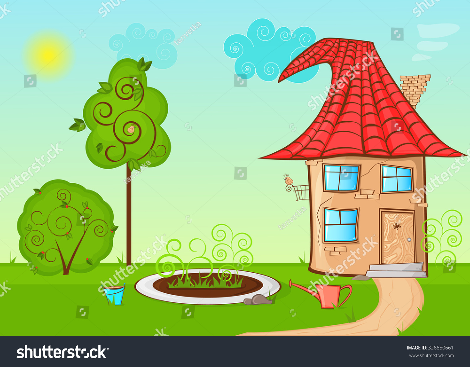 Vector Cartoon Illustration House Street Yard Stock Vector