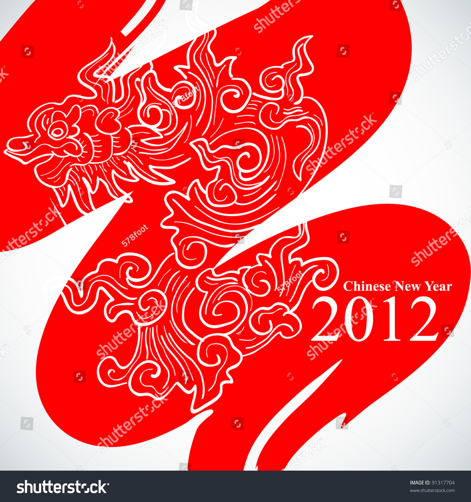 Vector Chinese New Year Greeting Card Stock Vector