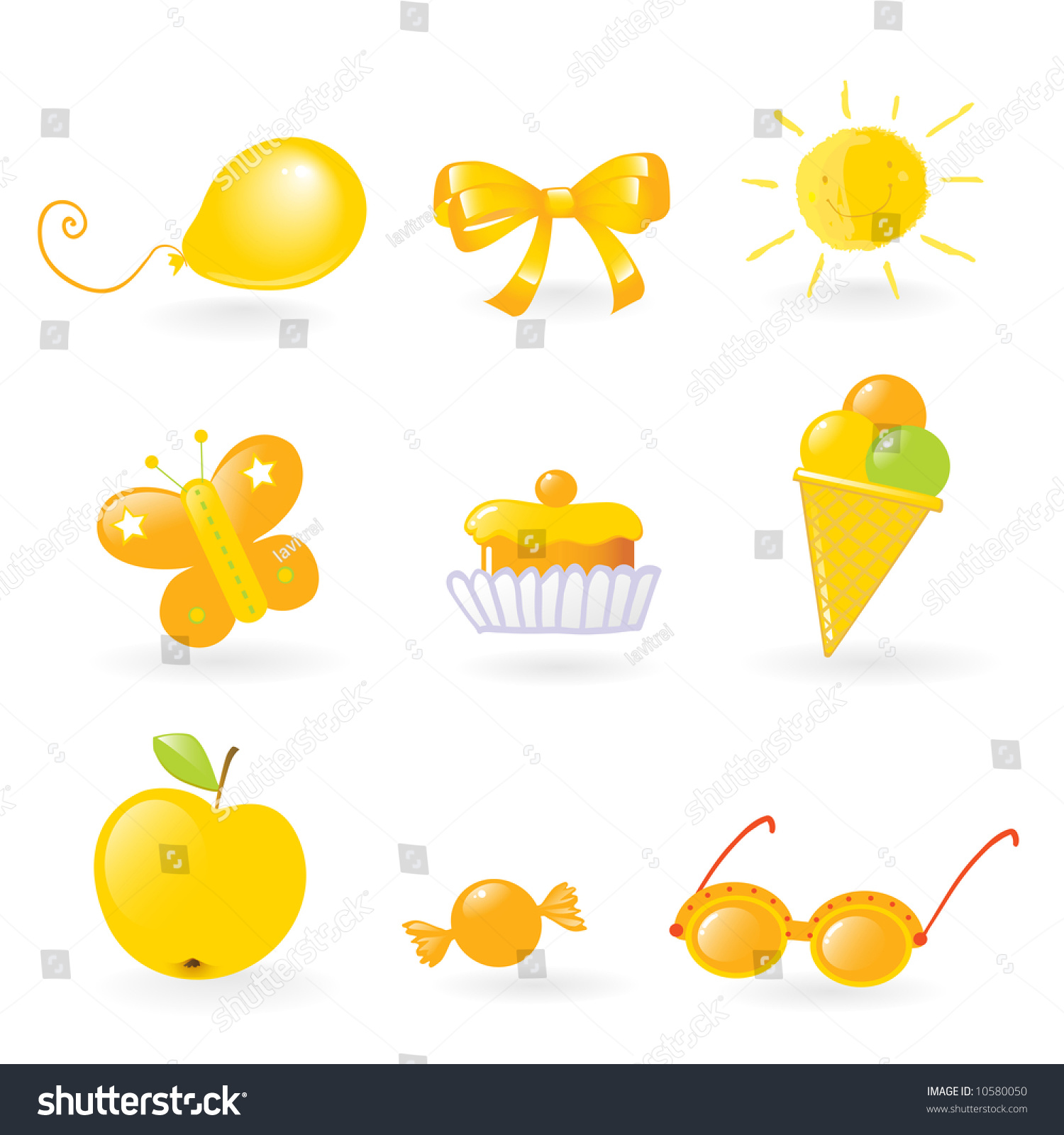 Vector Clip Art Of Different Yellow Colored Objects Set