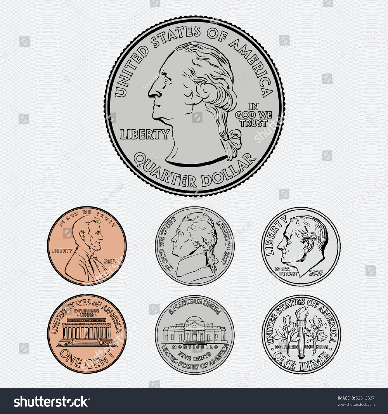 Vector Coins Quarter Dime Nickel Penny Stock Vector