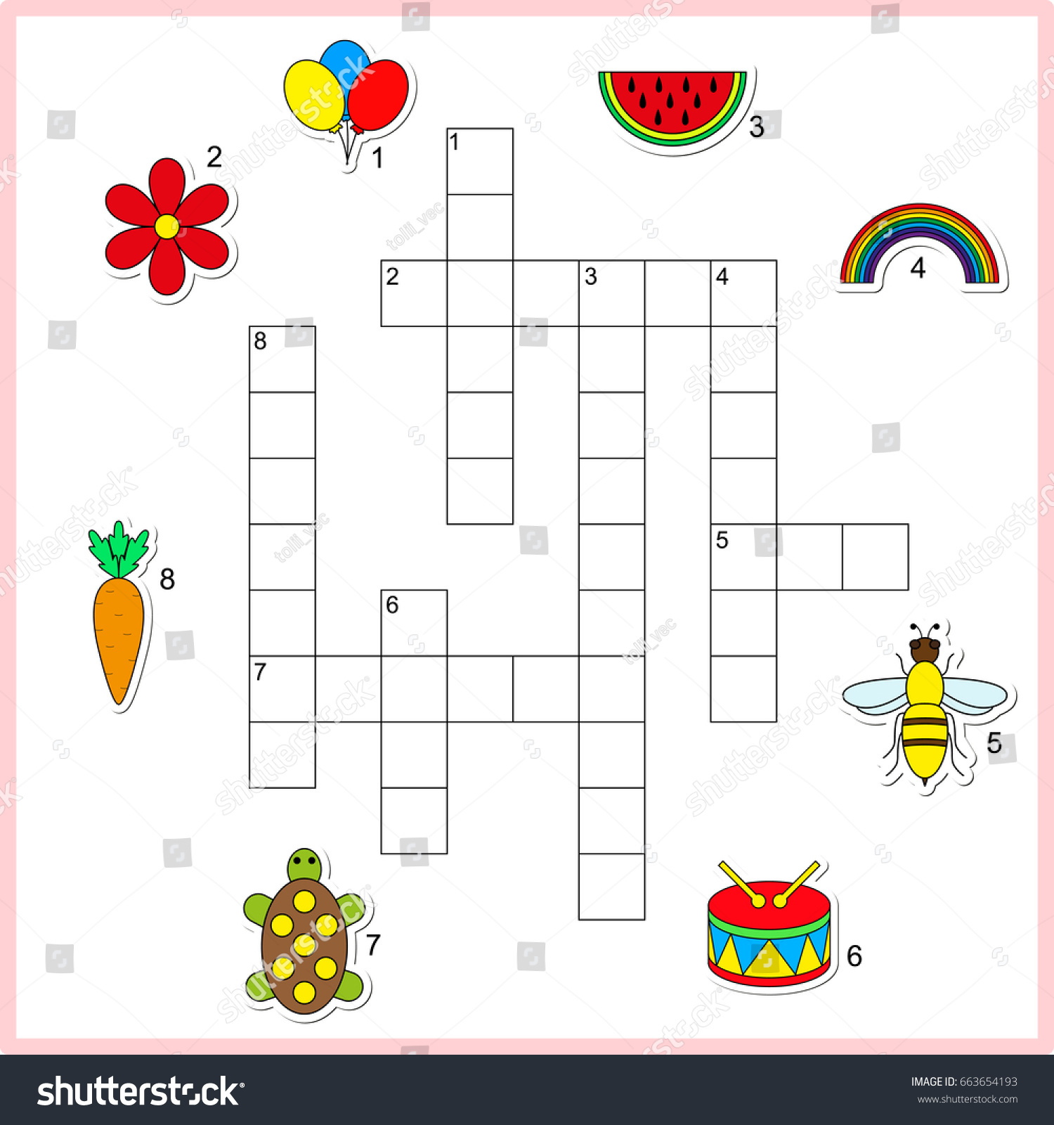 Vector Crossword Worksheet Preschool Kids Educational