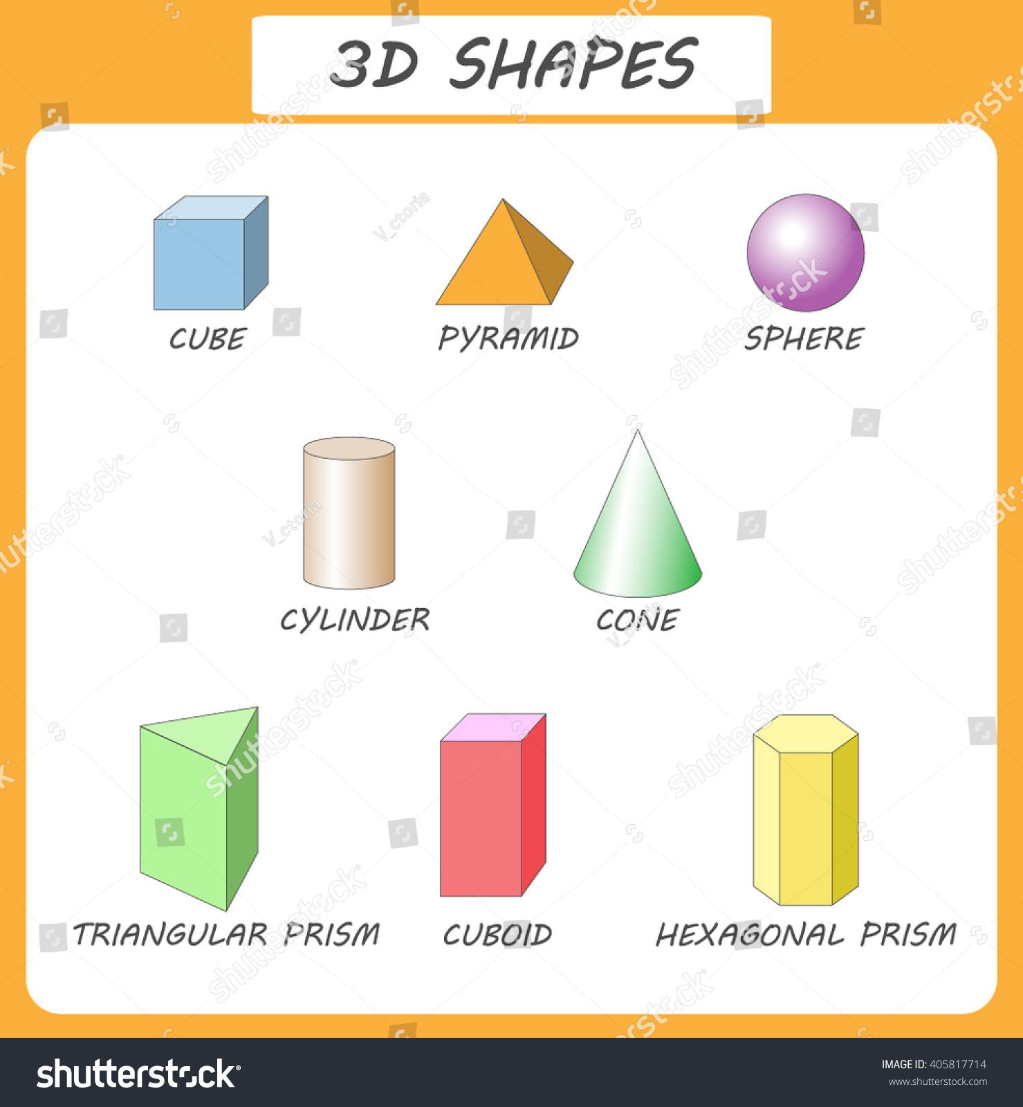 Vector 3d Shapeseducational Poster Children 3d Stock