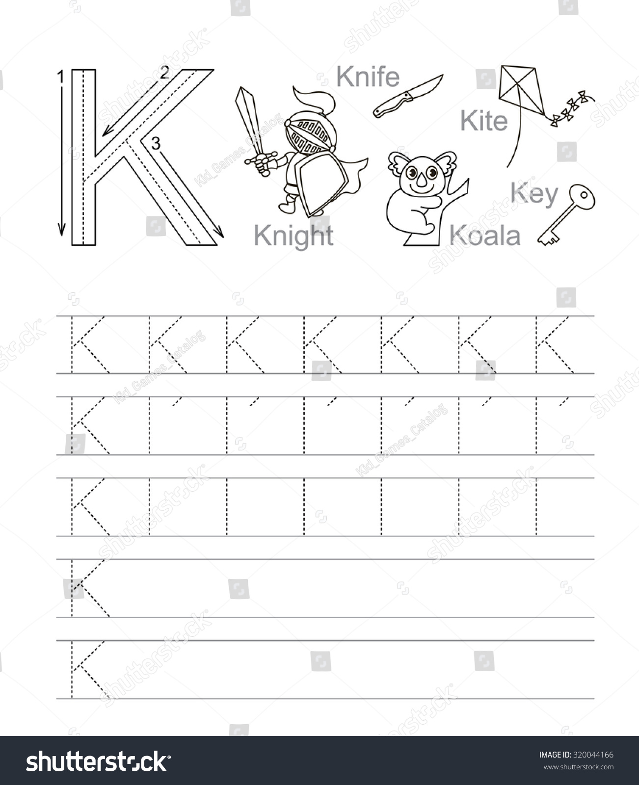 Vector Exercise Illustrated Alphabet Learn Handwriting Tracing Worksheet For Letter K Page To
