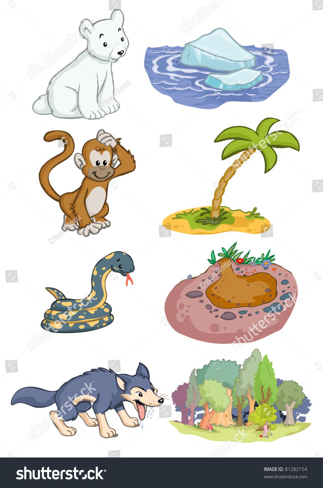 Vector Illustration Animals Habitat Cartoon Concept Stock