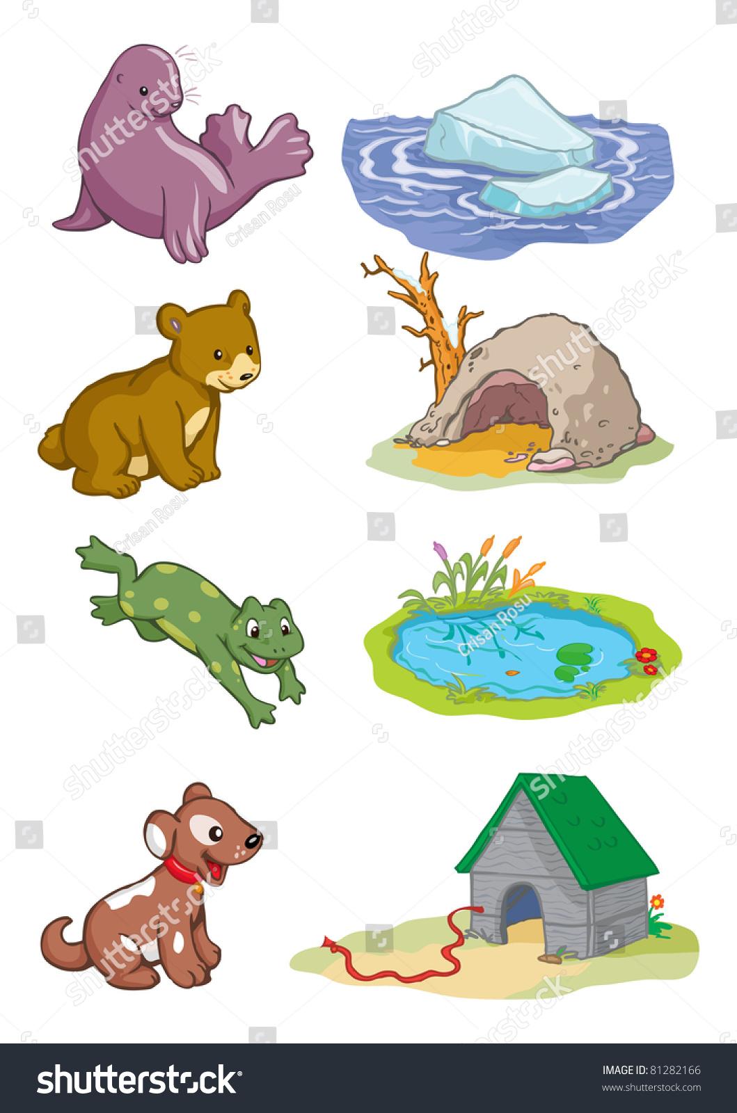 Vector Illustration Animals Habitat Cartoon Concept