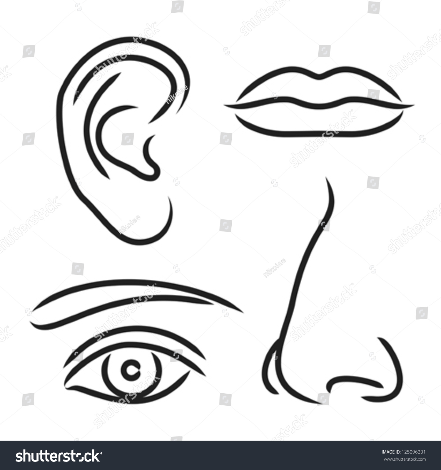 Vector Illustration Nose Ear Mouth Eye Stock Vector