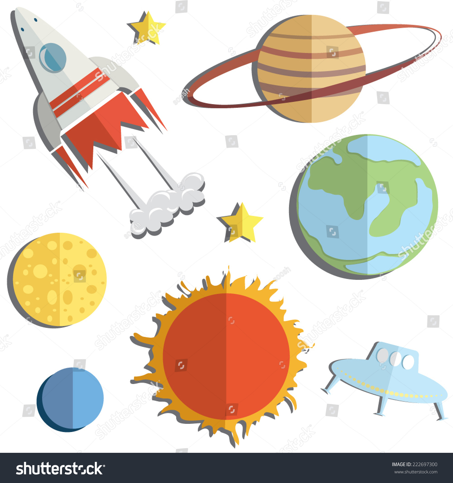 Vector Illustration Bright Set Kids Space Stock Vector