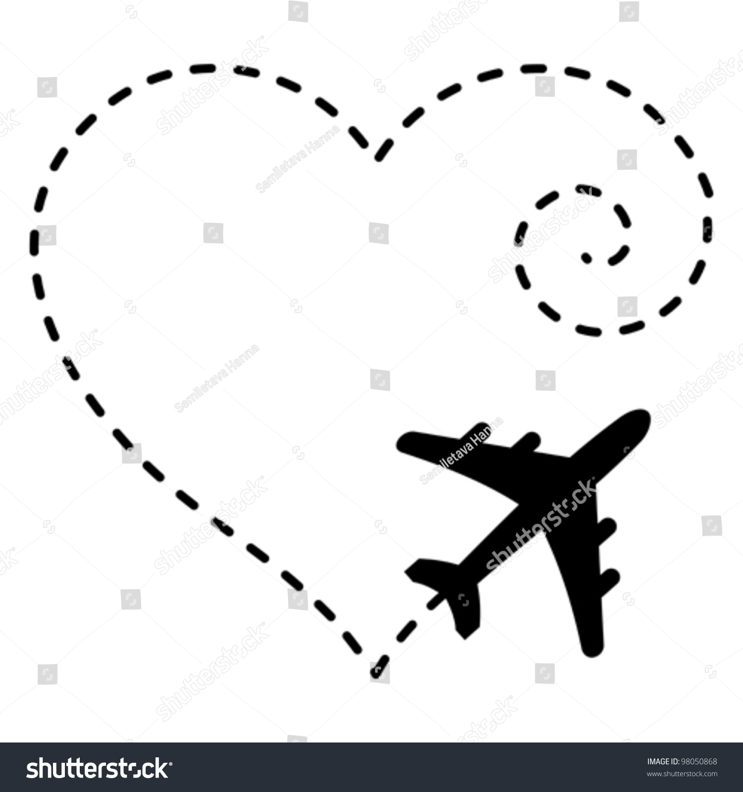 Vector Illustration Airplane Drawing Heart Shape Stock
