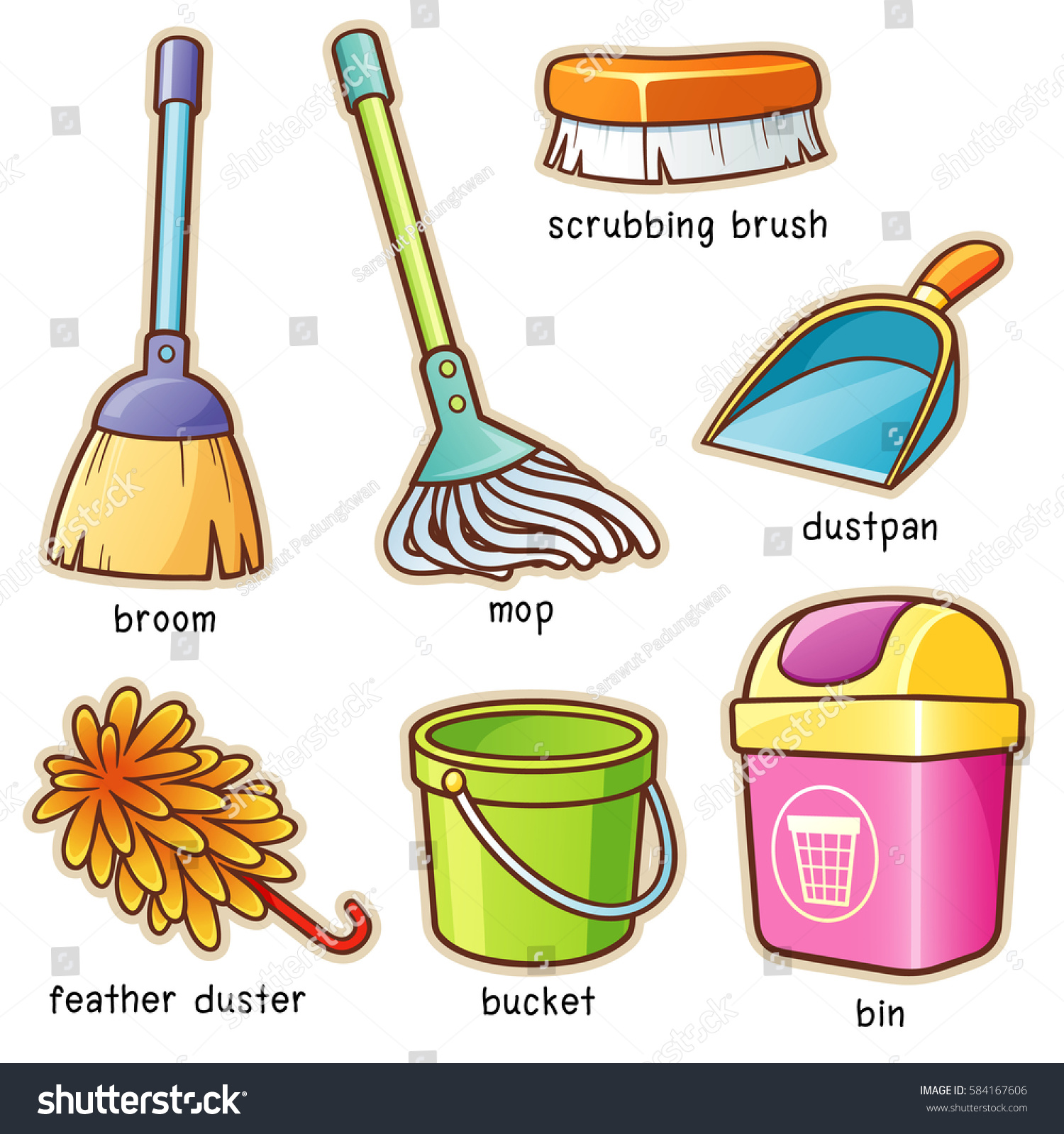 Vector Illustration Cartoon Cleaning Supplier Vocabulary