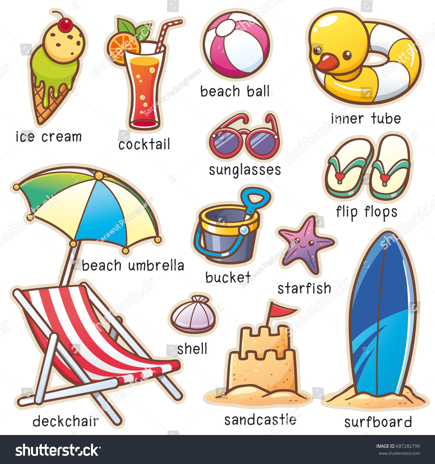 Vector Illustration Cartoon Summer Vacation Vocabulary