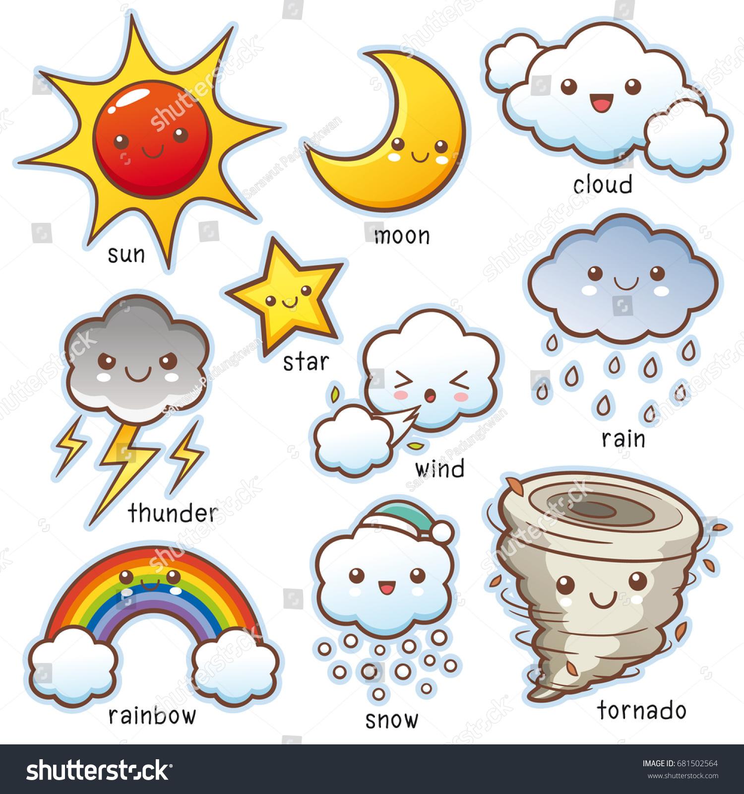 Vector Illustration Cartoon Weather Set Vocabulary Stock