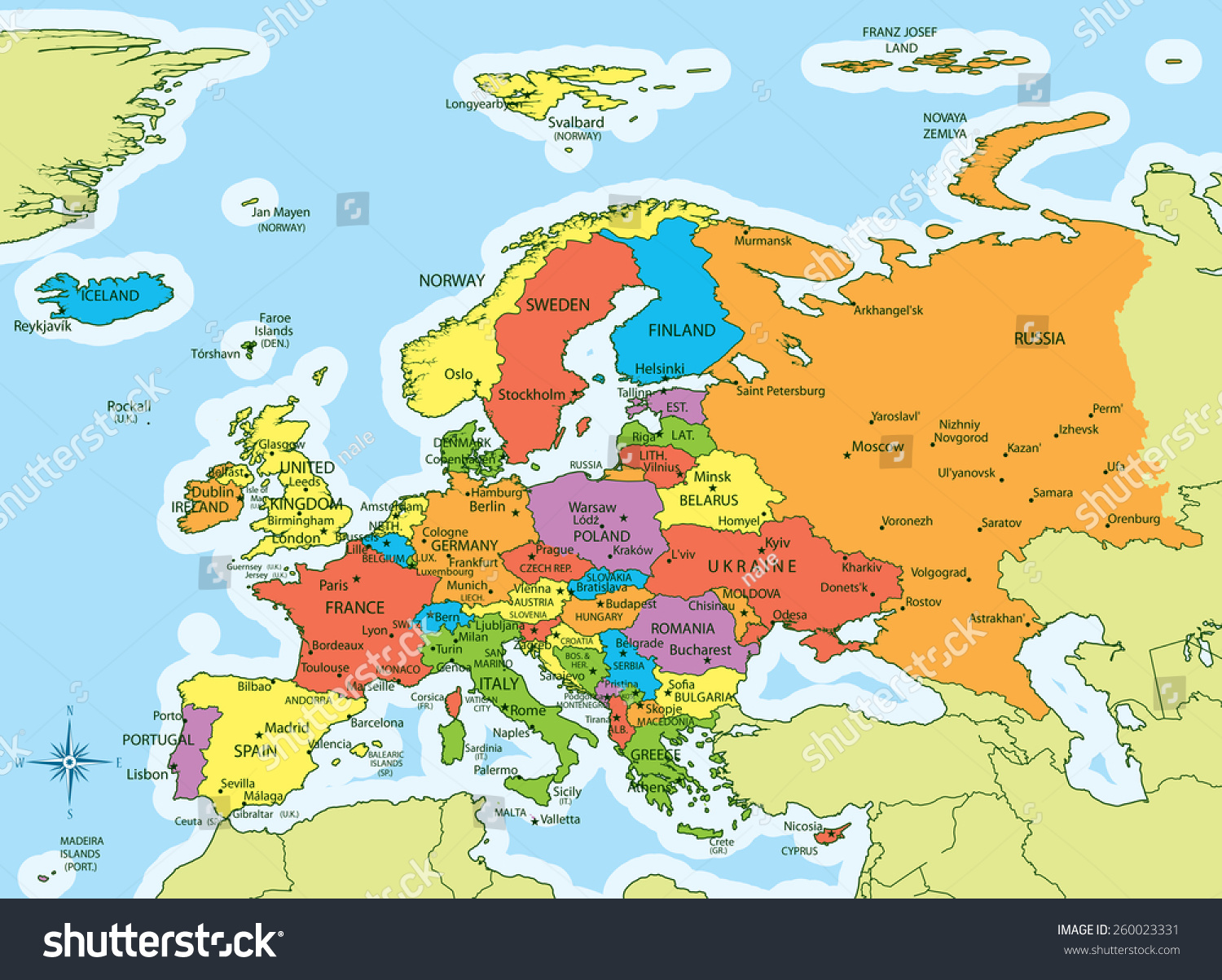 Vector Illustration Of Europe Map With Countries In