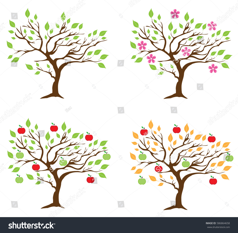 Vector Illustration Four Season Apple Trees Stock Vector