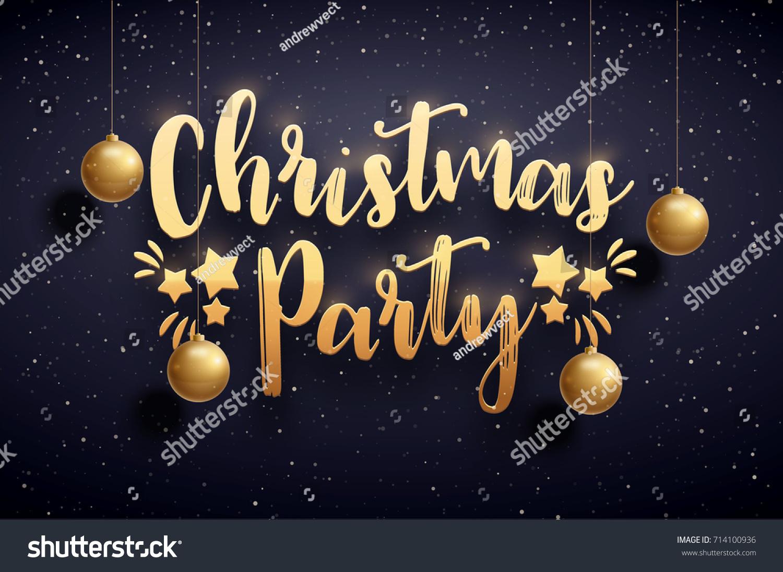 Vector Illustration Xmas Party 2018 Gold Stock Vector