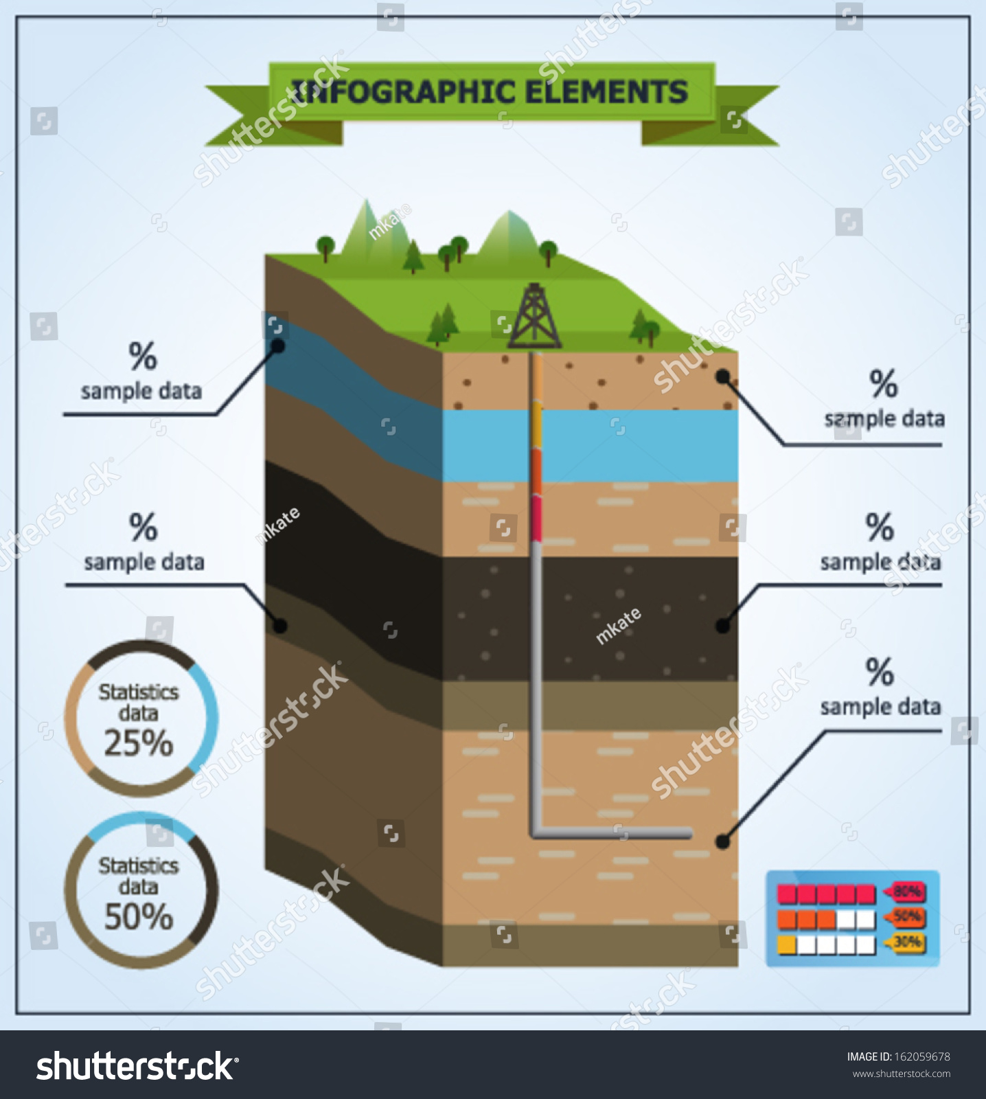 Vector Illustration Oil Extraction Earth Layers Stock