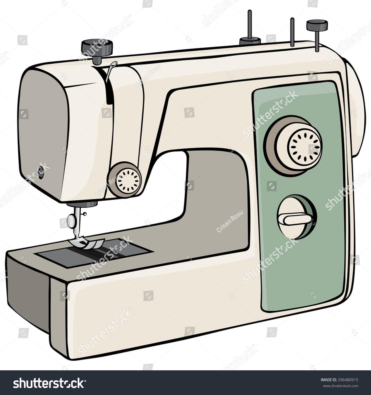 Vector Illustration Sewing Machine Cartoon Concept Stock