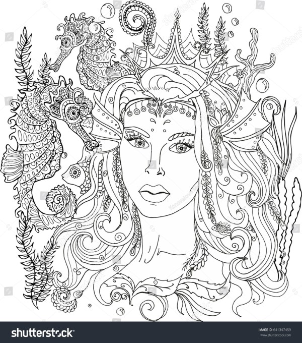 mermaid coloring pages for adults # 75